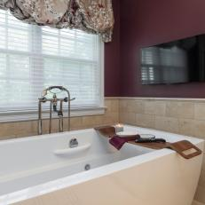 Contemporary Freestanding Bathtub in Burgundy Bathroom