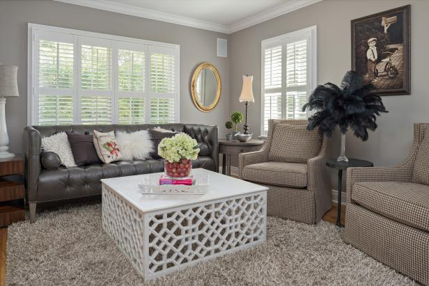 Gray Transitional Living Room With White Coffee Table & Gray Sofa