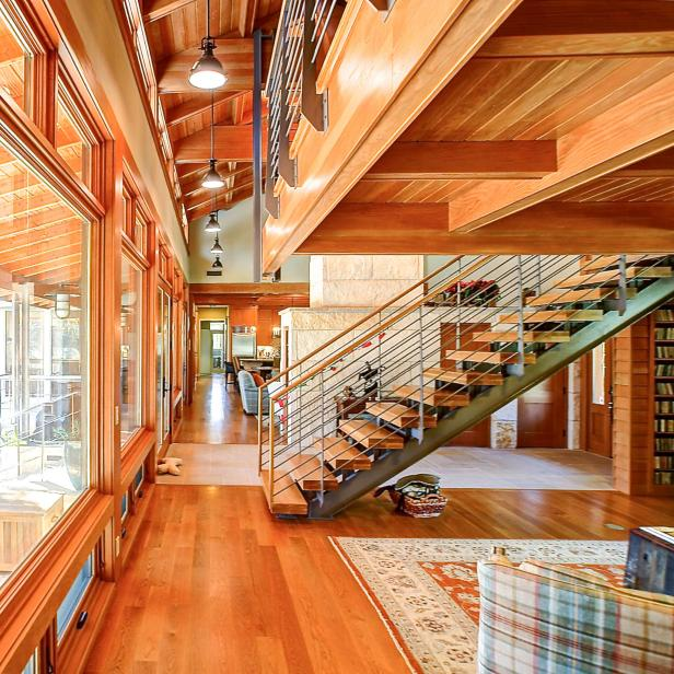 Contemporary Floating Staircase With Cable Railings Hgtv