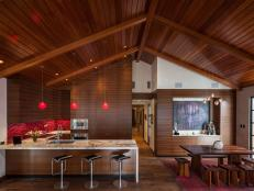Modern Asian Kitchen And Dining Area With Rich Wood 5 Photos