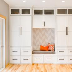 Gray and White Transitional Mudroom With Built-In Bench