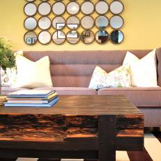 Reclaimed Wood Coffee Table and Neutral Sofa