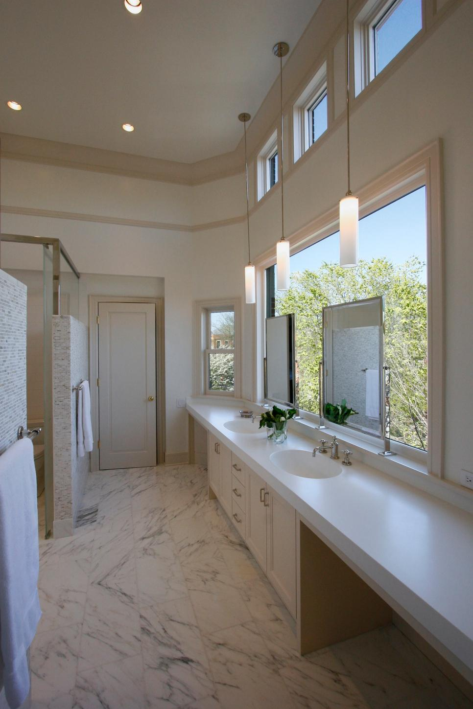 Transitional Neutral Double Vanity Bathroom With Marble Floors