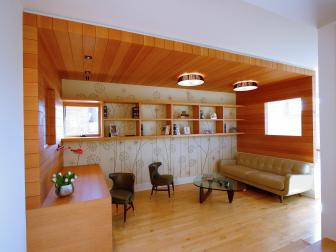 Cozy Home Office U0026 Library With Contemporary Wood Paneling
