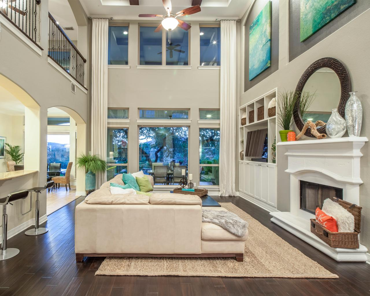 White Coastal Living Room With High Ceilings Hgtv