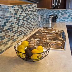 Stunning Blue Gray Mosaic Tile Kitchen Backsplash