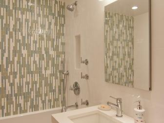 Stylish Modern Bathroom With Mosaic Tile Shower