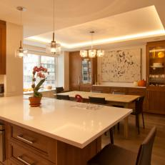 Open Plan Kitchen and Dining Area With Caesarstone Countertops