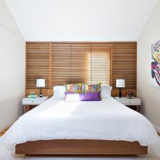 Impeccable Master Bedroom With Slatted Wood Backdrop