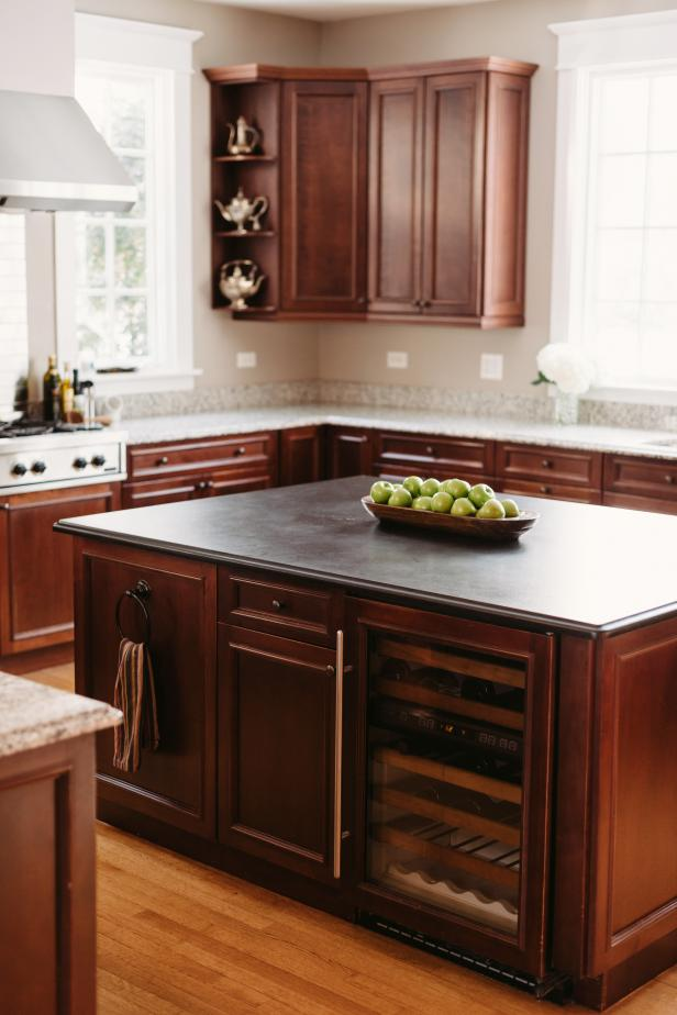 Traditional Brown Island in Neutral Kitchen