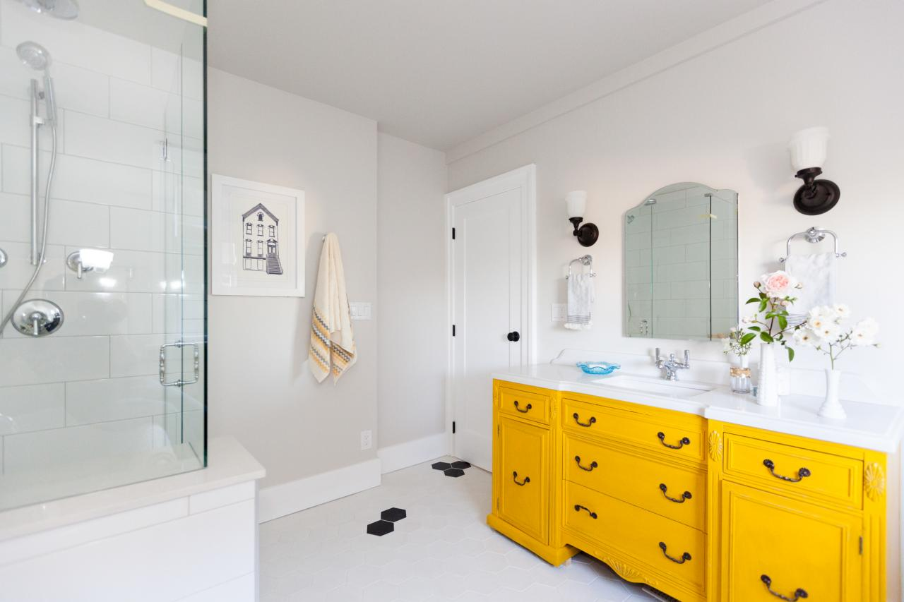 Let Your Vanity Do The Talking. Bright Yellow Cabinets In Contemporary  Bathroom
