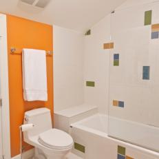 Bright Kid's Bathroom WIth Orange Accents