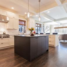 Transitional Kitchen With Brown Island & Coffered Ceiling
