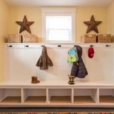 Stylish Country Mudroom With Built-In Storage