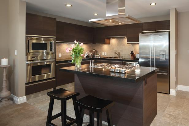 Small Open Plan Kitchen With Contemporary Cabinets and ...