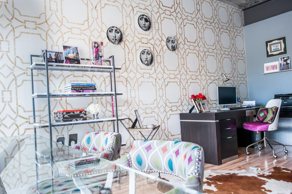 Multicolored Home Office With Geometric Print Wallpaper