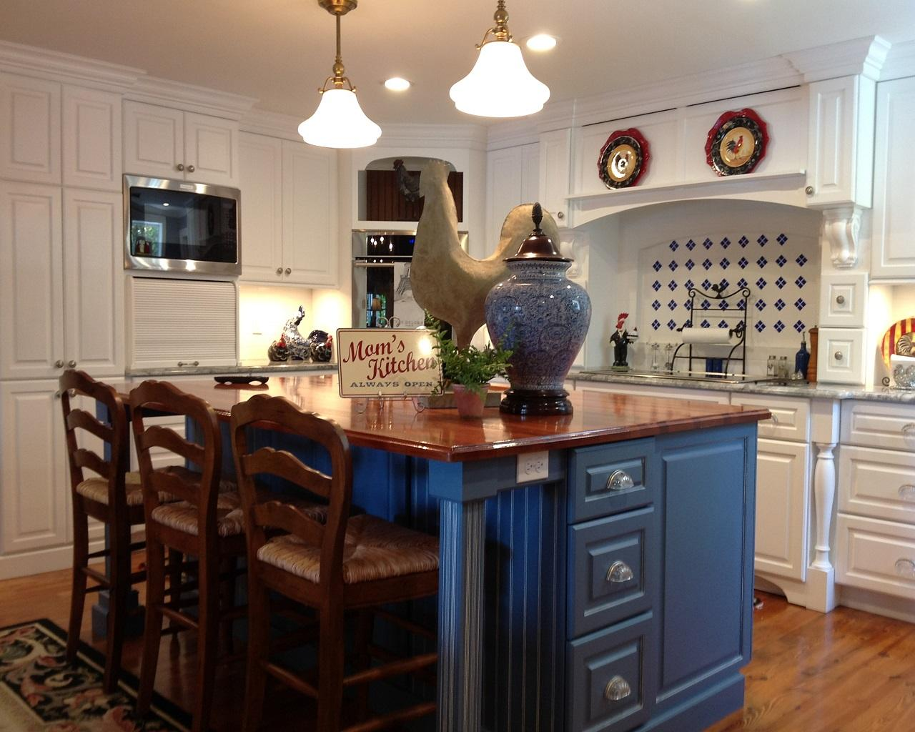 Bright French Country Kitchen Features Beautiful Blue