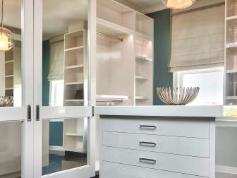 Teal and White Transitional Master Closet