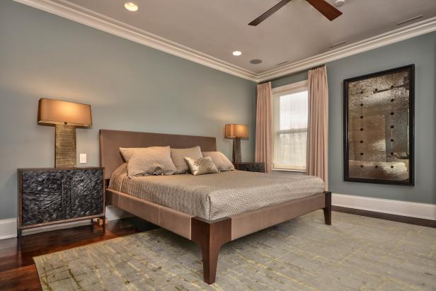 Blue Transitional Bedroom With Brown Upholstered Bed