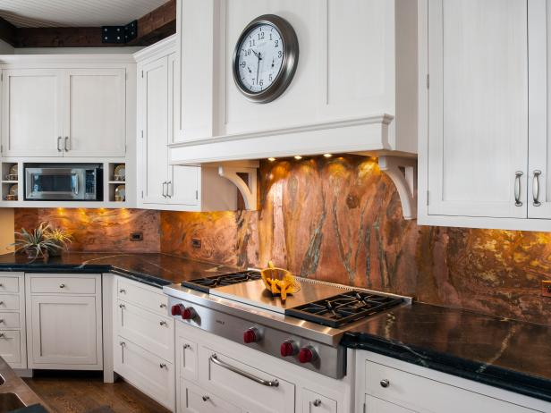 Shimmery Marble Backsplash in Transitional Kitchen