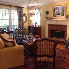 Yellow Transitional Living Room with Iron Chandelier