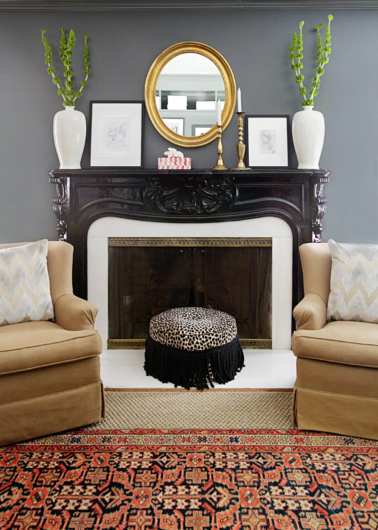 Traditional Gray Living E With Glossy Black Fireplace