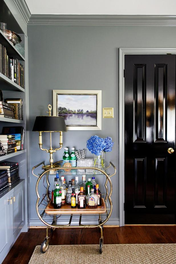 Elegant Bar Cart In Traditional Home Office