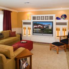 Craftsman-Style Living Room Boasts Golden Tan Walls