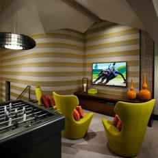 Superbe Chartreuse Infused Game Room Is Fun, Hip