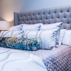 Silver Bedding Dazzles in Chic Gray Bedroom