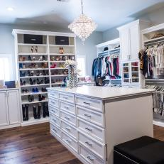 Dreamy Walk-In Closet With Beautiful White Built-Ins