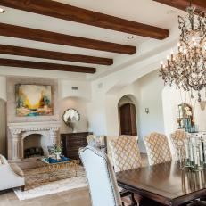 Open Plan Dining & Living Areas With Wood Ceiling Beams