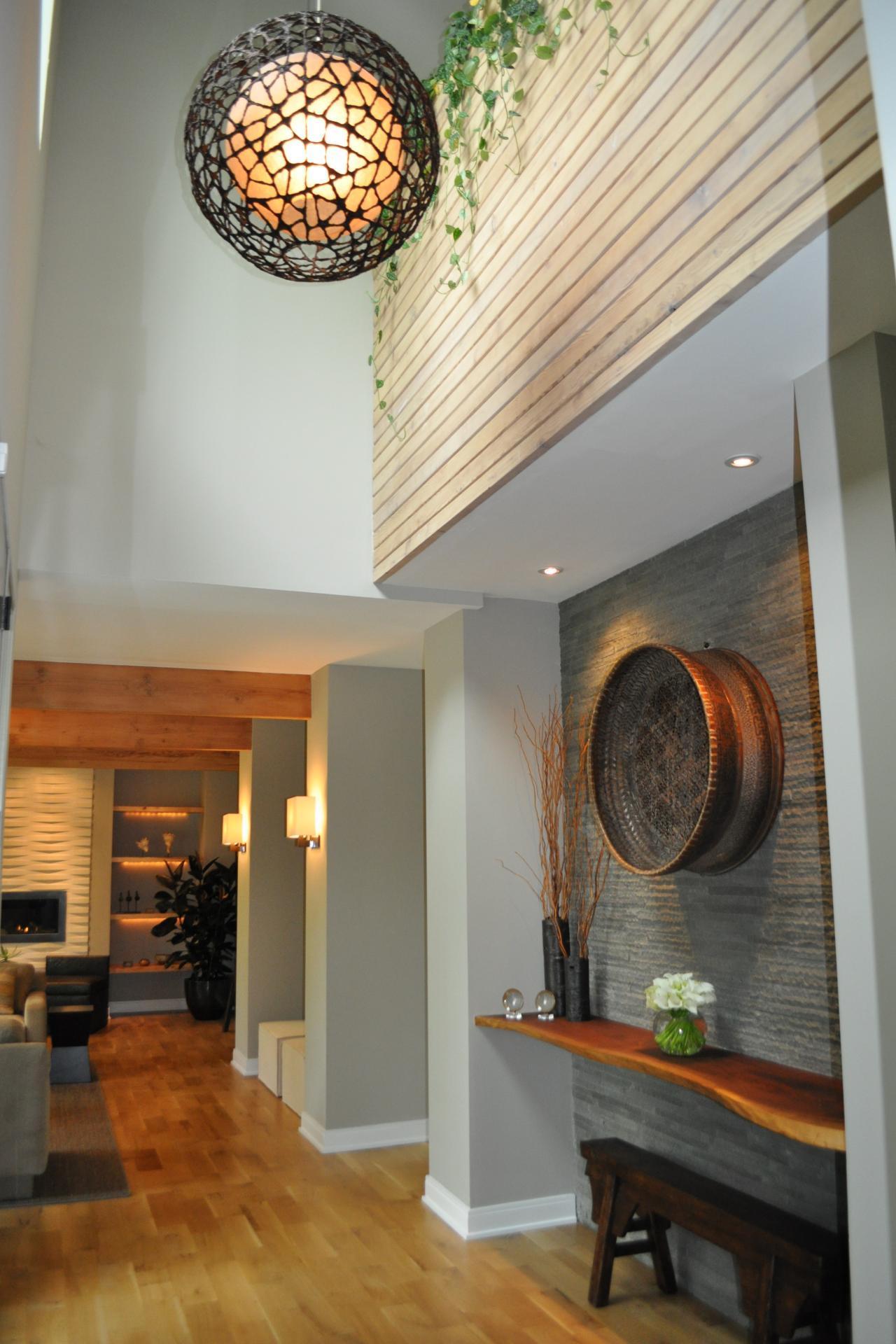 Contemporary Foyer : Modern rustic foyer with globe pendant light hgtv