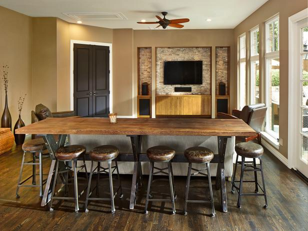 Neutral Game Room With Rustic Table and Stools