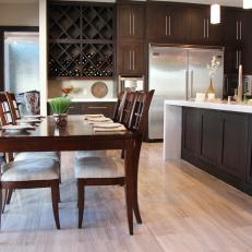 Contemporary Eat-In Kitchen With Dark Wood Furniture
