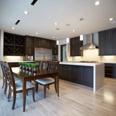 Contemporary Dine-In Kitchen With Dark Cabinetry