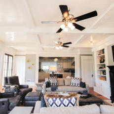 Bright Contemporary Living Room With Coffered Ceiling