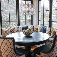 Bright and Decorative Dining Nook With Banquette Seating