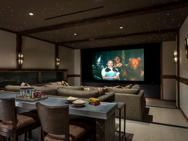 Rustic Media Room With Snack Bar