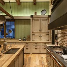 Rustic Kitchen With Corrugated Glass Panels