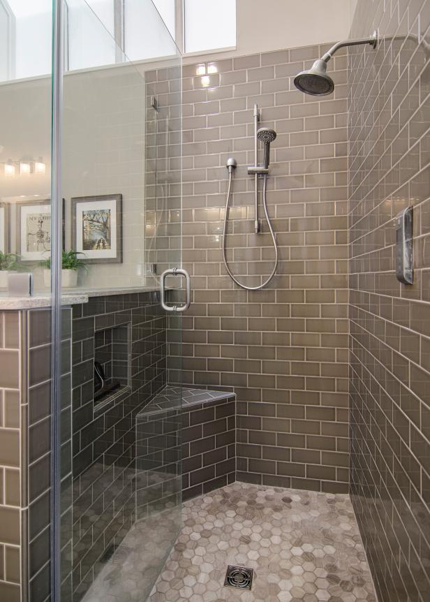 Walk In Shower With Gray Subway Tile Hgtv