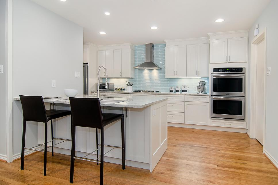 White Kitchen With Black Barstools