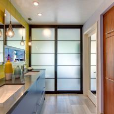 Blue And Yellow Modern Bathroom With Teardrop Pendants