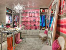Luxurious Walk-In Closet With Pink Accents