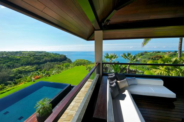 View From Second-Story Deck of Infinity Pool, Lush Lawn, Ocean