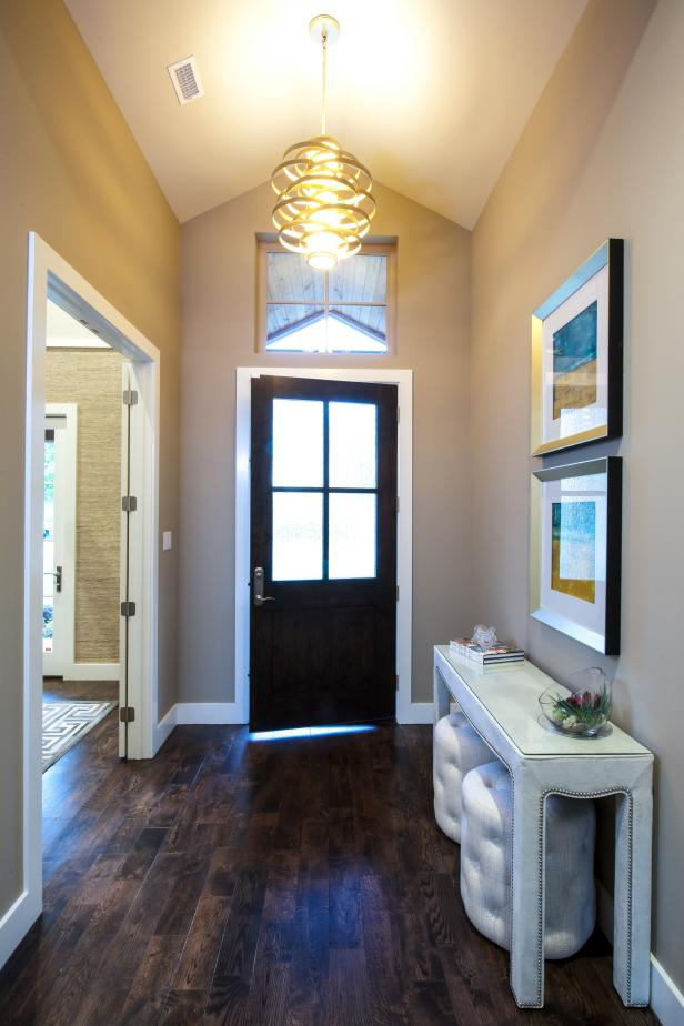 Neutral Contemporary Entry With Dark Hardwood Floor