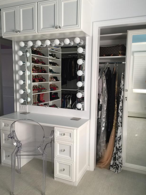 White Walk In Closet With Custom Vanity And Mirror