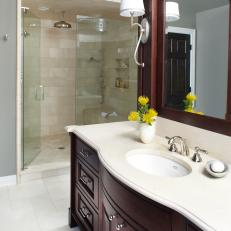 Transitional Master Bathroom With Dark Stained Vanity & Walk-In Shower