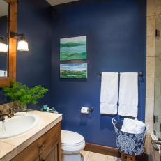 Rustic Style Bathroom With Navy Walls