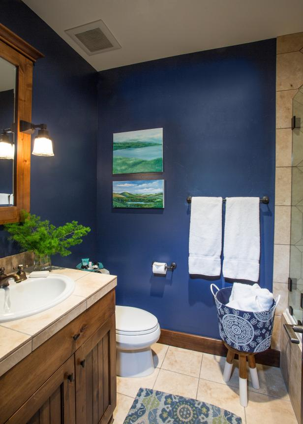 Rustic-Style Bathroom With Navy Walls | HGTV